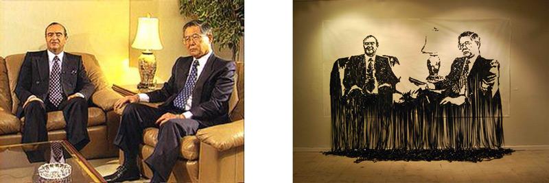 """Figura 2: (Izquierda) Entrevista con Montesinos y Fujimori (Abril, 1999) (Derecha) """"En la Salita"""", de Orestes Bermudez (2011). Foto: cortesía del artista."""